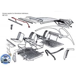 Hood bracket 2cv for interior locking