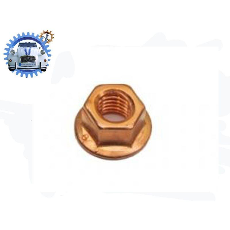 Ecrou M7 à embase acier cuivre - frein