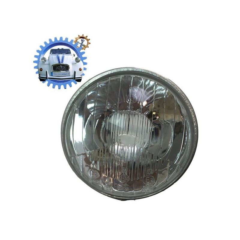 Optique de phare 2cv ancien modèle avec trou de veilleuse baionnette
