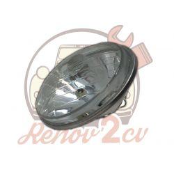 Optique de phare 2cv nouveau modele avec trou de veilleuse code européen AVEC CERCLAGE