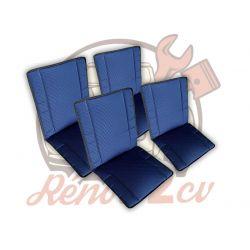 Set of 4 blue Bayadere seat...