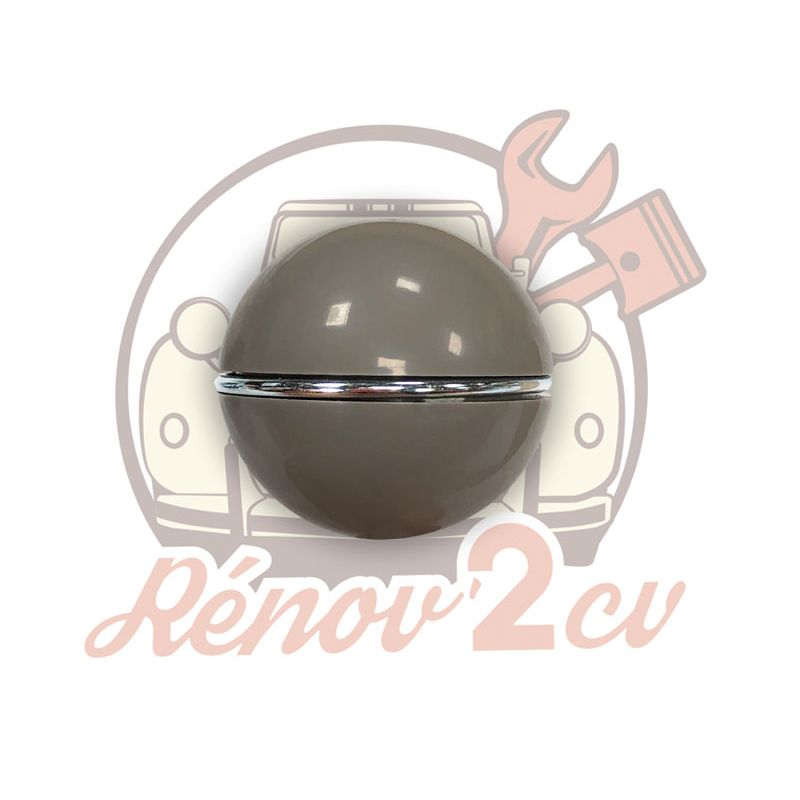 Brown gearlever knob with chrome ring