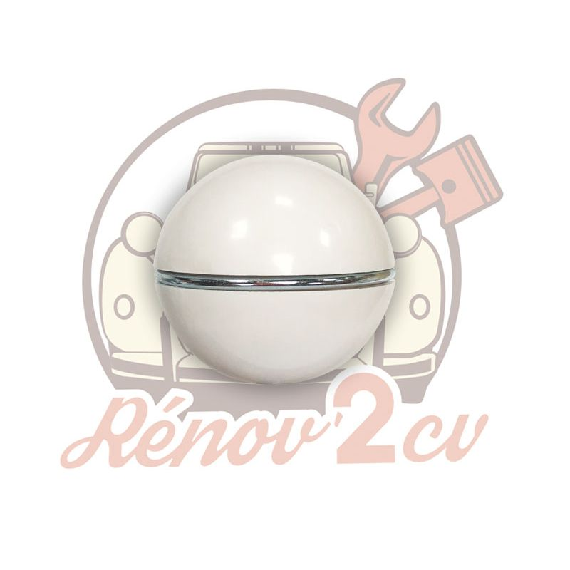 White gearlever knob with chrome ring