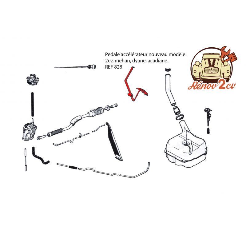 Accelerator pedal new model 2cv mehari dyane acadiane