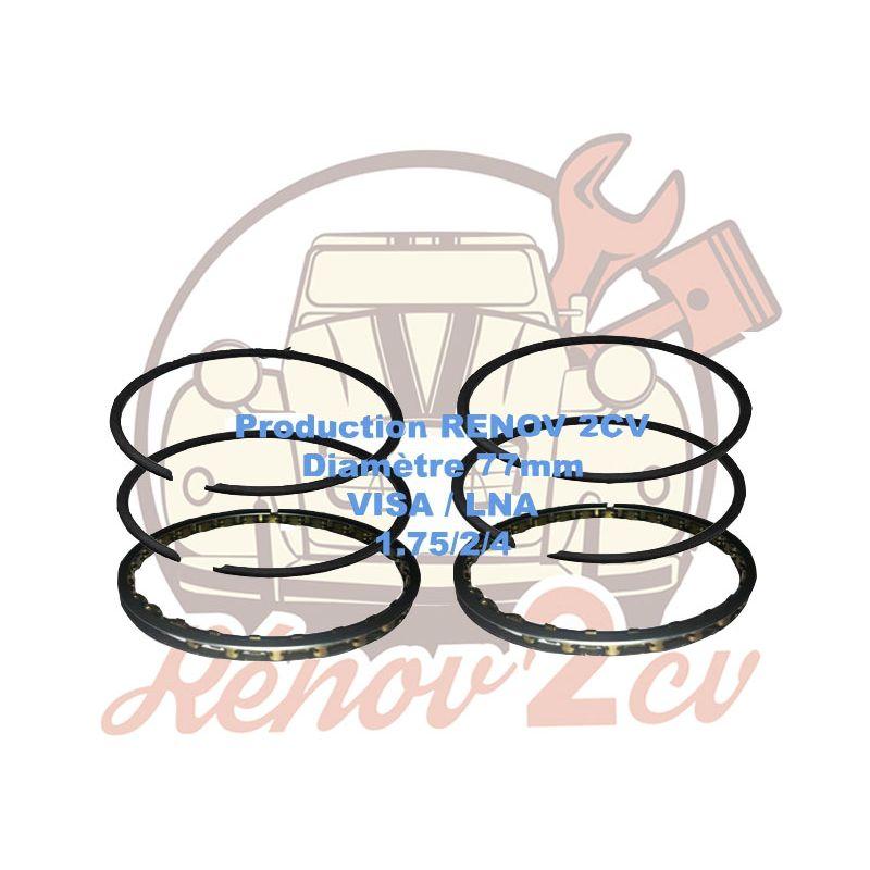 Jeu de segments moteur visa lna 652cc 1.75/2/4 diametre 77 mm